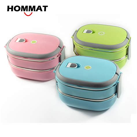 Lunch Box Yooyee 1 hommat 2 tier stainless steel bento lunch boxs japanese insulated thermo lunchbox thermal metal