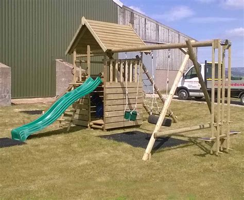 swing extension garden play fort with cargo net and swing extension