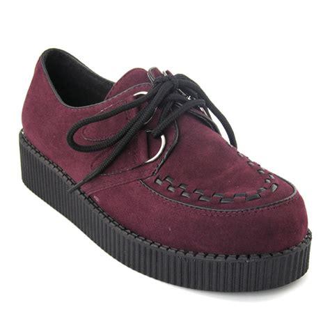 Flats Bg 6 Maroon Flats Shoes Supertu new platform lace up womens flats creepers shoes size 3 8