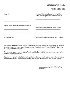 Fillable Online California Notice Of Intent To Lien Form Zlien Fax Email Print Pdffiller Notice Of Lien Letter Template