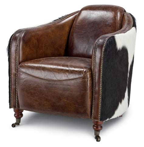 rustic leather armchair fink rustic brown leather hair hide upholstered arm chair