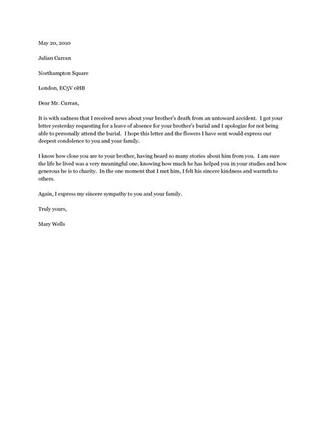 Lost Business Letter Template condolence letter on business letter template