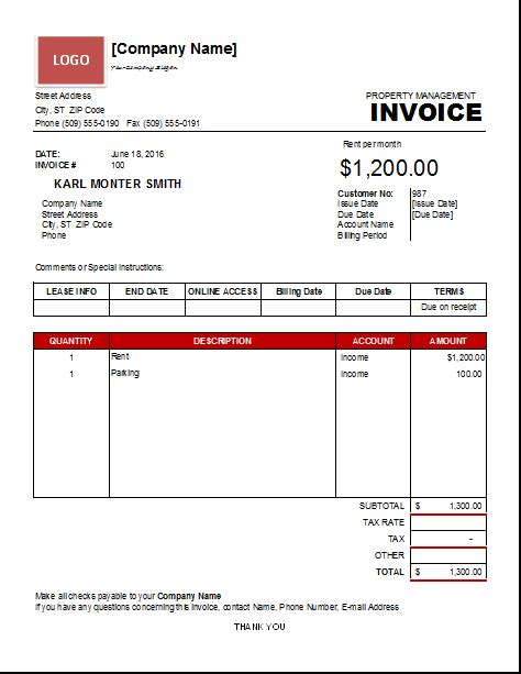 template property property management invoice template excel invoice templates