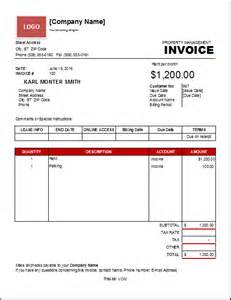property management invoice template excel invoice templates