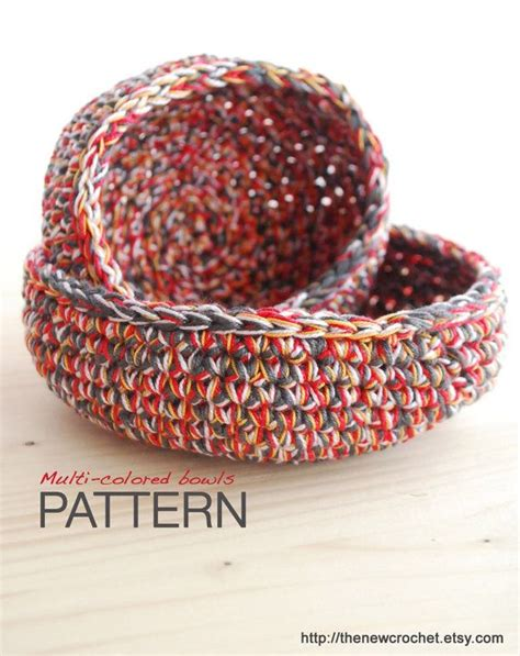 etsy pattern site fees crochet pattern multi colored bowls 2 sizes bowls