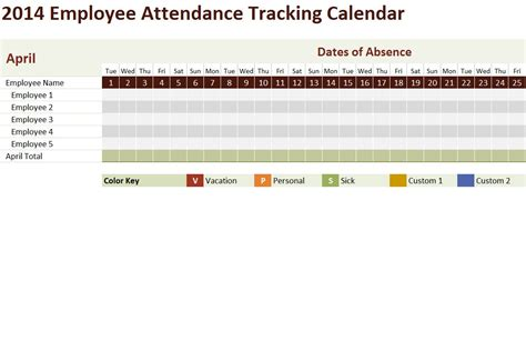 vacation calendar template 2014 10 best images of attendance tracking calendar employee