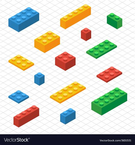 Lego Graphic 14 do your self set of lego blocks in isometric view vector image