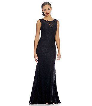 betsy adam   sleeveless lace gown lace gown