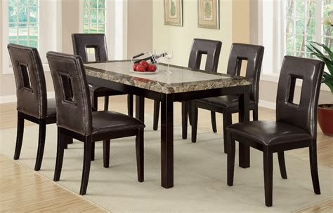 Marble Dining Table And 6 Chairs 7pc Stockton Marble Top 6 Chairs Dining Table Set