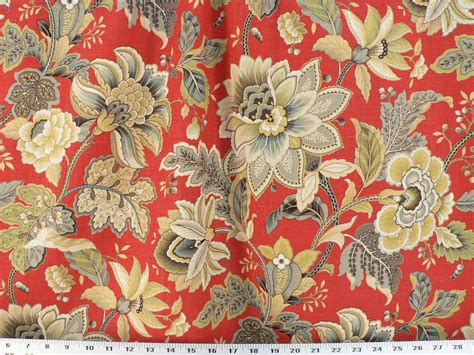 red floral upholstery fabric drapery upholstery fabric linen floral outline in metallic