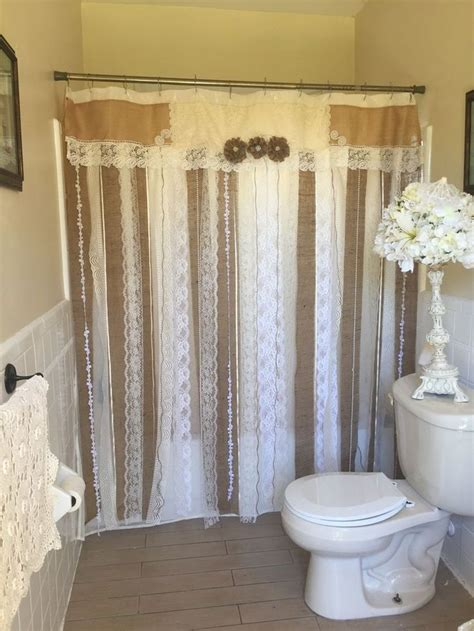 Country Bathroom Curtains Best 25 Burlap Shower Curtains Ideas On Pinterest Burlap Shower Shower Curtain Lengths And