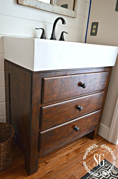 Farm Sink Bathroom Vanity by A Peek At Our Powder Room Makeover Stonegable