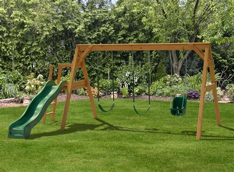 wooden swing sets with slide swing set with slide neat ideas pinterest google