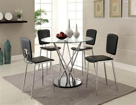 Counter Height Round Glass Top Huelo Modern Table Set Black & Chrome