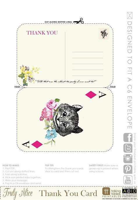 free printable thank you cards pdf alice in wonderland free download pdf thank you cards