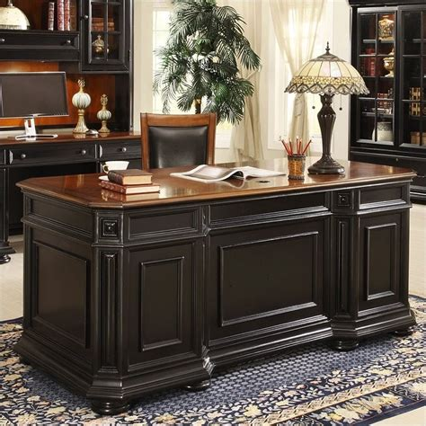 black executive office desk riverside furniture allegro executive desk in rubbed black
