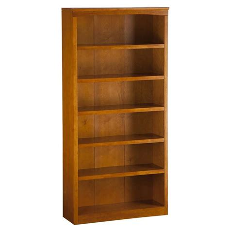 atlantic furniture harvard 6 shelf bookcase in caramel