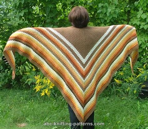 free crochet pattern triangle wrap abc knitting patterns autumnal triangle shawl