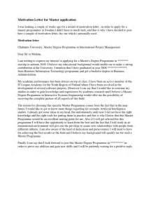 Motivation Letter For Master Application Academic Degree