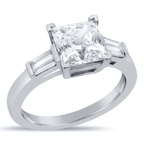 princess cut engagement ring with tapered baguette