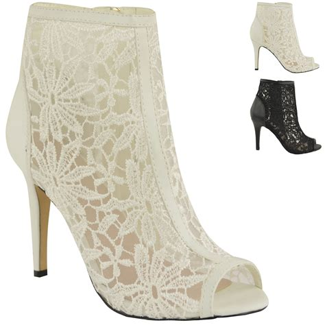 womens lace mid high heels peep toe evening sandals