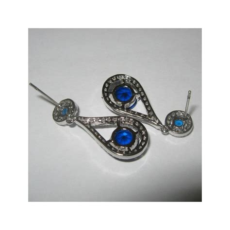 Anting Panjang Gold Imitasi jual anting gold filled 10k model blue sapphire cz