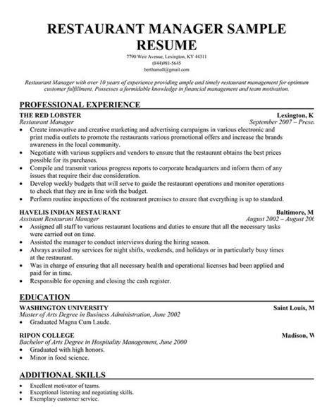 Resume Sle For Restaurant Assistant Manager Restaurant Manager Resume Template Business Articles Restaurant Restaurant