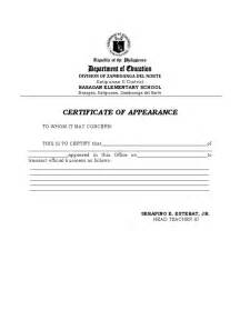certificate of appearance template certificate of appearance