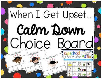 calm down choices choice boards calm down and young children on pinterest