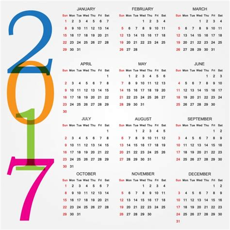 The Calendar For 2017 2017 Calendar Design Vector Free