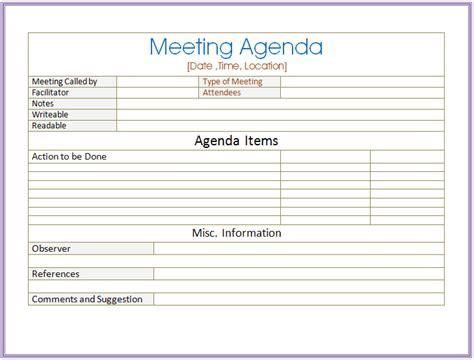 word meeting template related keywords suggestions for informal meeting agenda