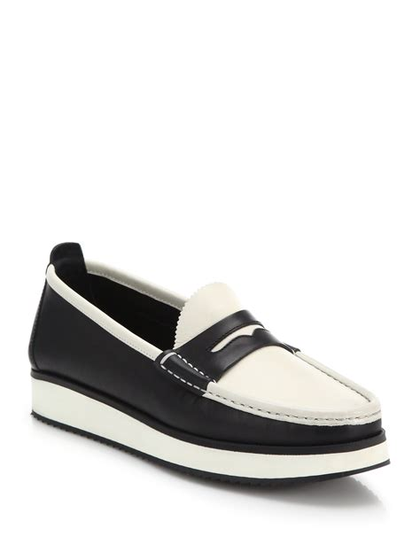 2 tone loafers lyst rag bone tanja two tone leather loafers in black