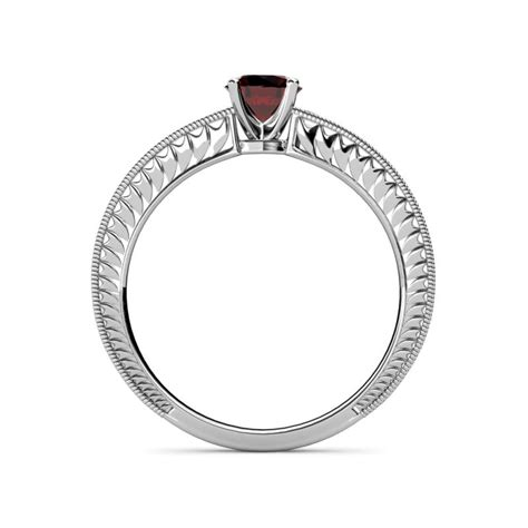 natural color 67157 red garnet engraved solitaire engagement ring with