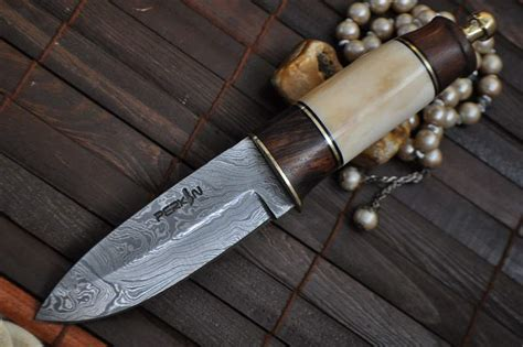 custom damascus knife bushcraft knife