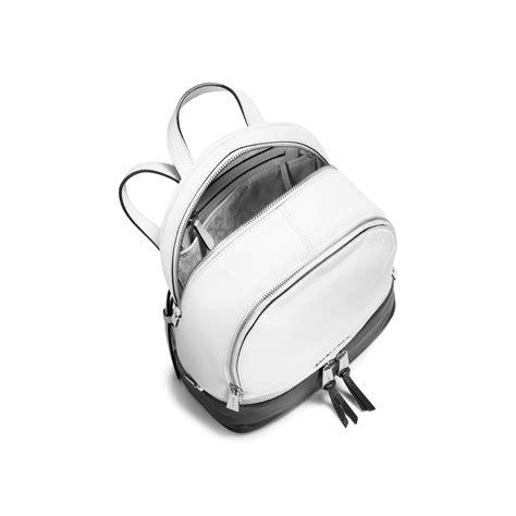 Micha Kors Rhea Backpack Medium Trim Fur Black michael kors rhea medium color block leather backpack in black lyst