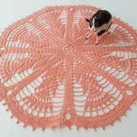 Shabby Table Cloth Pink Lace 2 crochet doily pink lace table from dosymphony