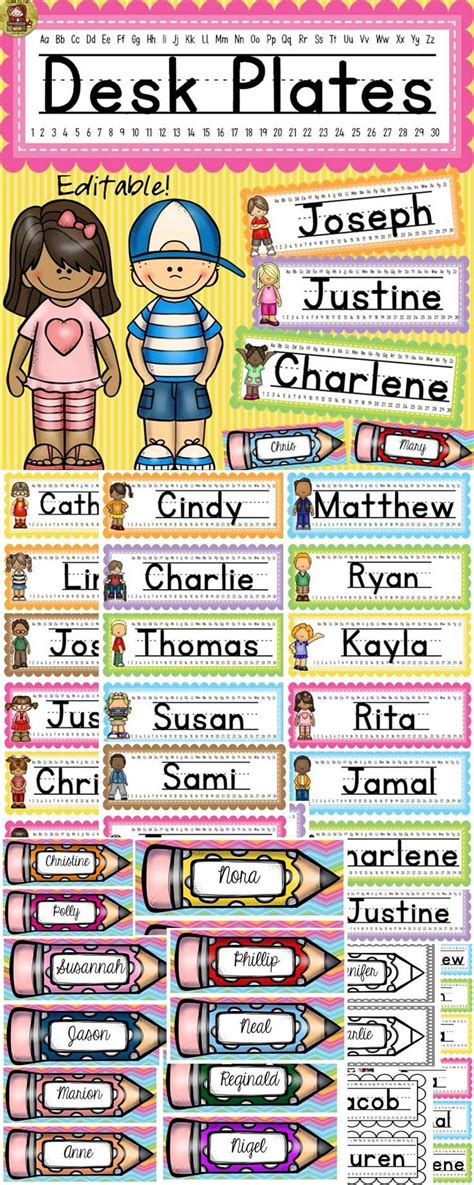 student name tags for desks back to desk name plates kids and ice cream colors