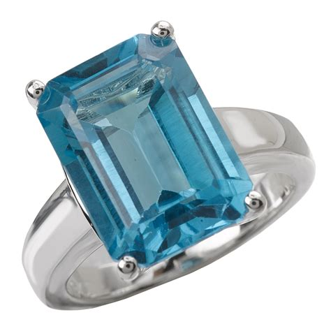 sterling chic collection silver emerald cut swiss blue