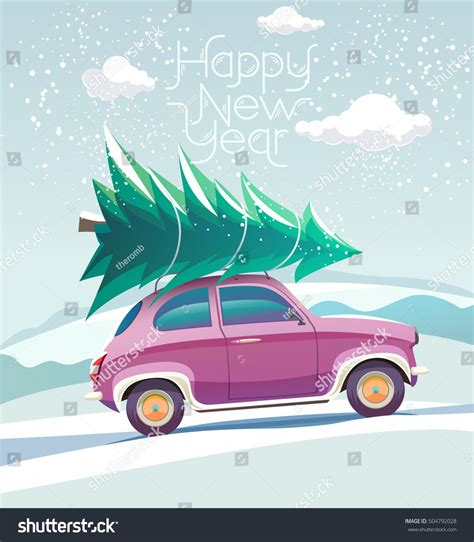car with tree image car tree on roof stock vector 504792028