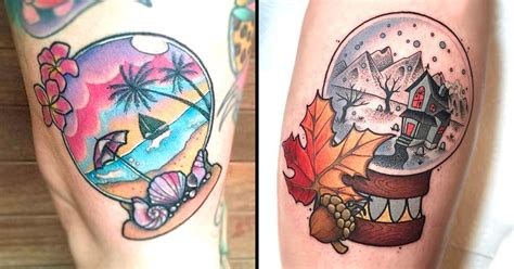 these bright snow globe tattoos keep your memories encased in these glinting snow globe