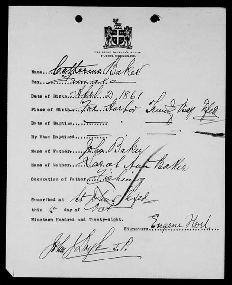 Newfoundland Birth Records Birth And Baptism Certificates