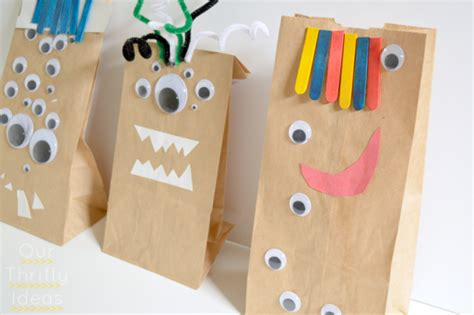 Paper Bag Crafts - crafting w paper bag monsters our thrifty ideas