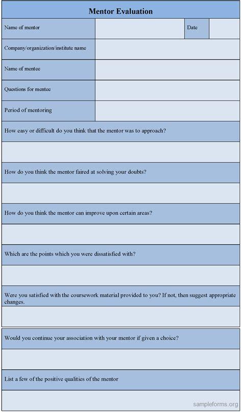 mentoring template mentor evaluation form sle mentor evaluation form
