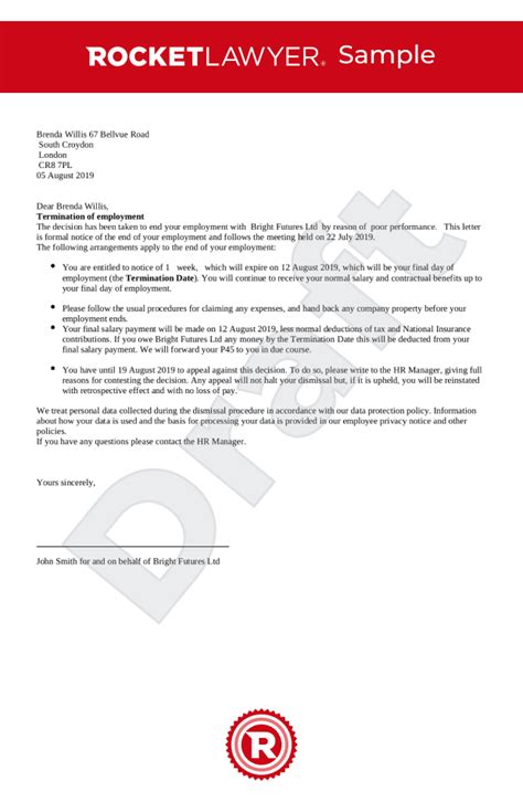 termination employment letter uk template