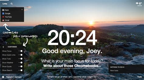 chrome quotes momentum new tab add on adds new features widgets