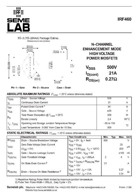 transistor irf460 irf460 5897 pdf datasheet ic on line
