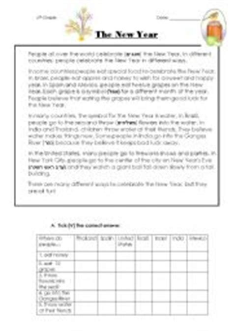 new year comprehension activities the new year reading comprehension 2 pages