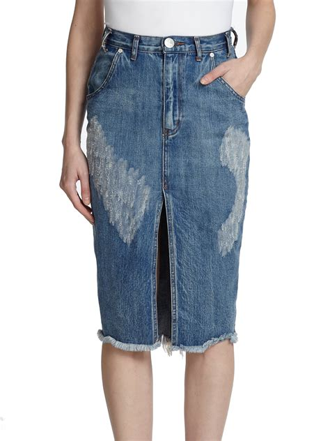 one teaspoon cadillac distressed denim pencil skirt in