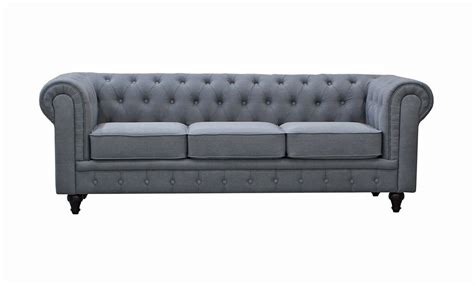 Paris Grey Linen Chesterfield Sofa Linen Chesterfield Sofa