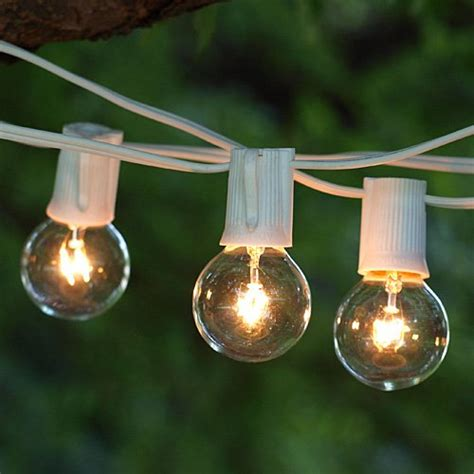 White String Lights Outdoor Brightech Ambience Outdoor Strand Lights With 25 G40 Clear Globe Bulbs Commercial Quality